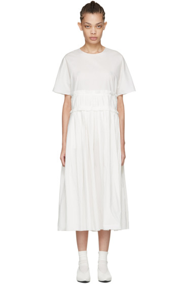 Sara Lanzi - Off-White Pleated Poplin Dress