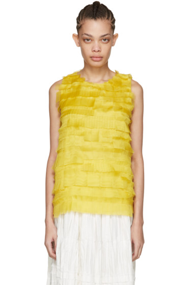 Sara Lanzi - Yellow Silk Net Tank Top