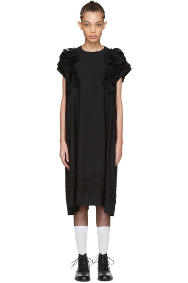 Tricot Comme des Garçons - Black Floral Embroidery Ruffle Dress