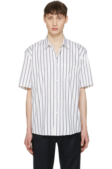 Our Legacy - White Striped Initial Shirt
