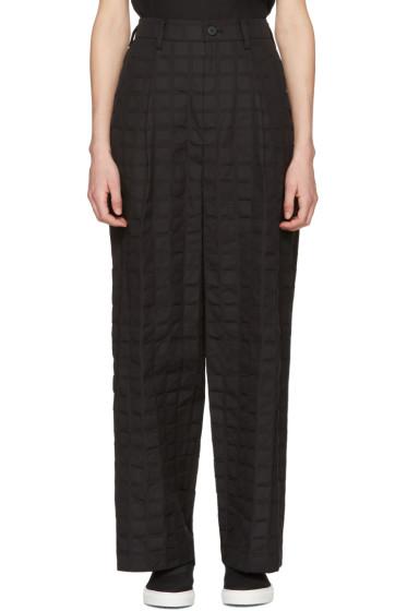 Issey Miyake - Black Crumpled Grid Trousers