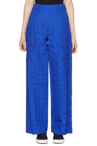 Issey Miyake - Blue Crumpled Grid Trousers