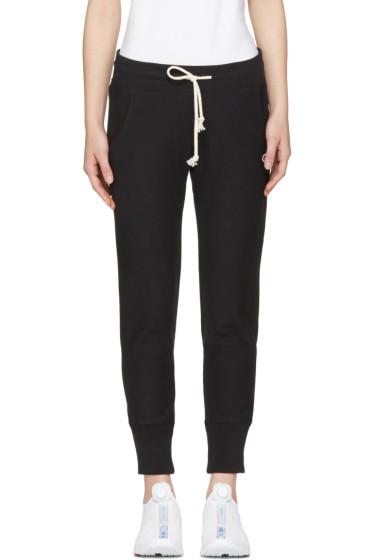 Champion Reverse Weave - Black Logo Patch Lounge Pants