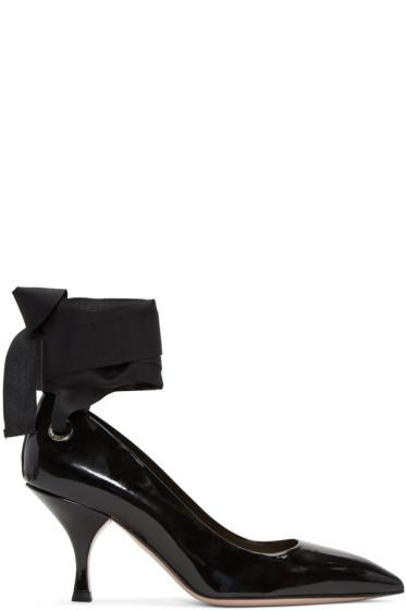 Miu Miu - Black Grommet & Ribbon Heels
