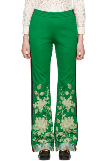 Gucci - Green Embroidered Track Pants