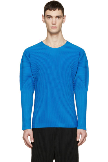 Homme Plissé Issey Miyake - Blue Pleated Pullover