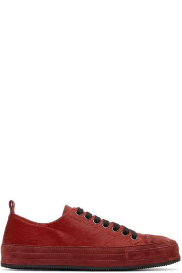 Ann Demeulemeester - Red Calf-Hair Sneakers
