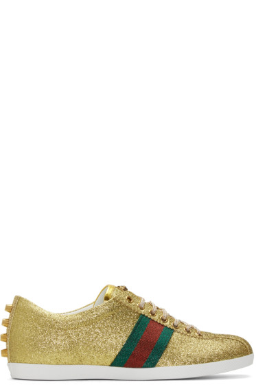 Gucci - Gold Glitter Bambi Sneakers