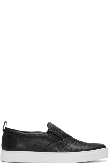 Gucci - Black Embossed Logo Slip-On Sneakers