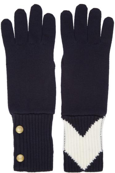 Moncler Gamme Bleu - ネイビー コントラスト手袋