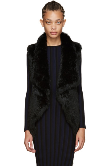 Yves Salomon - Black Knit Fur Vest