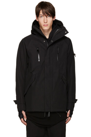 11 by Boris Bidjan Saberi - Black Hooded Zip-Up Jacket