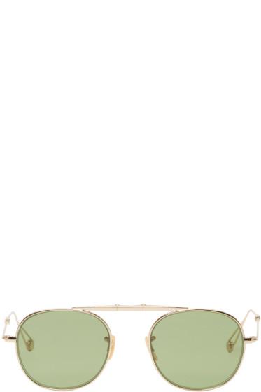 Garrett Leight - Gold Folding Van Buren Sunglasses