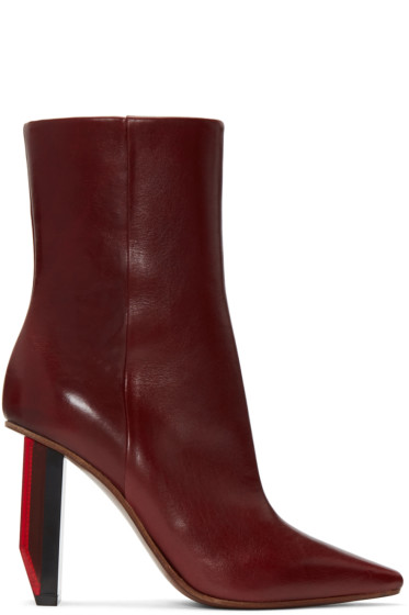 Vetements - Burgundy Reflector-Heel Boots