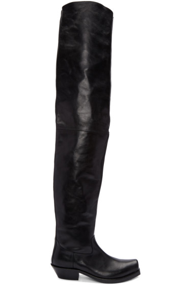 Vetements - Black Leather Over-the-Knee Boots
