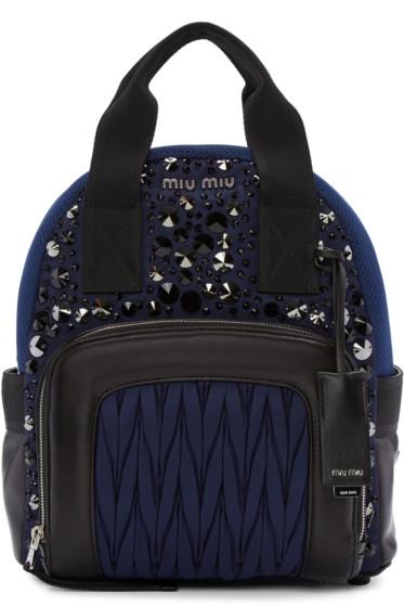 Miu Miu - Blue Nylon Matelassé Backpack