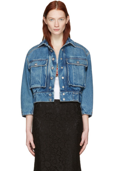 Dolce & Gabbana - Blue Cropped Denim Jewelled Jacket