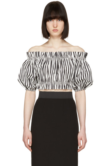 Dolce & Gabbana - Black & White Ruffled Off-the-Shoulder Blouse