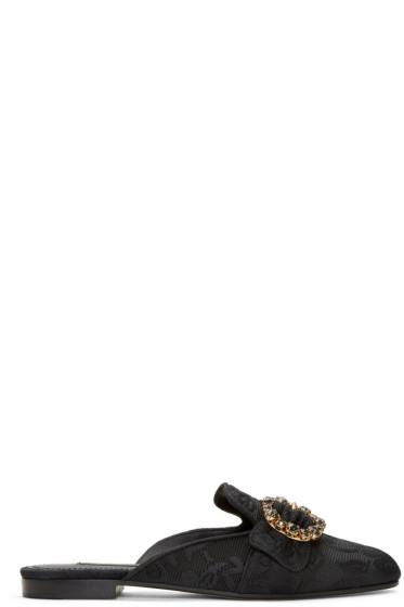 Dolce & Gabbana - Black Circle Buckle Jacquard Mules