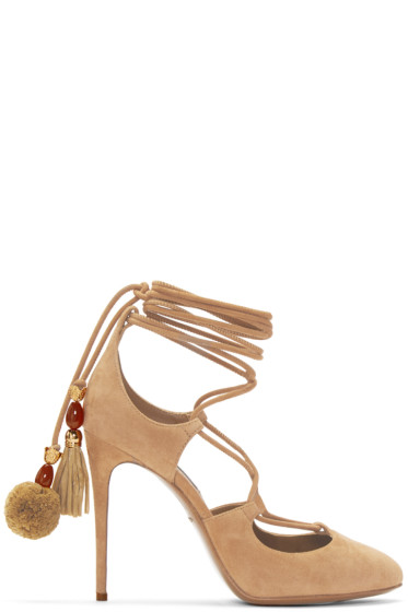 Dolce & Gabbana - Tan Suede Lace-Up Pumps