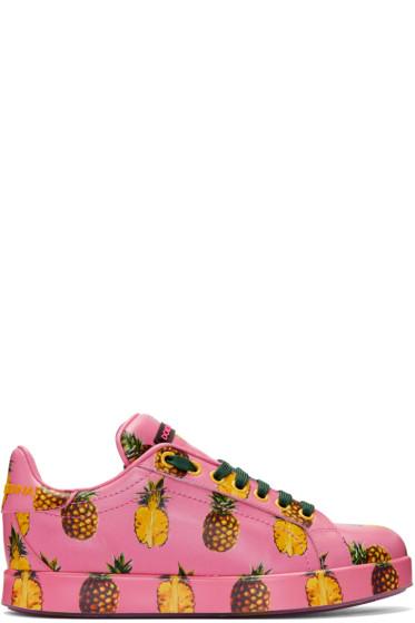 Dolce & Gabbana - Pink Pineapple Sneakers