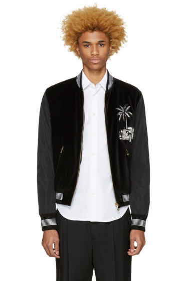 Dolce & Gabbana - Black Embroidered Bomber Jacket