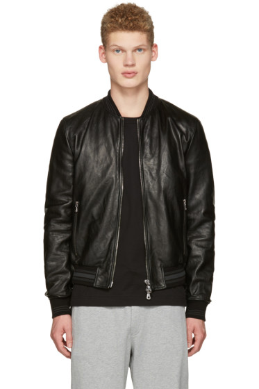 Dolce & Gabbana - Black Washed Leather Bomber Jacket
