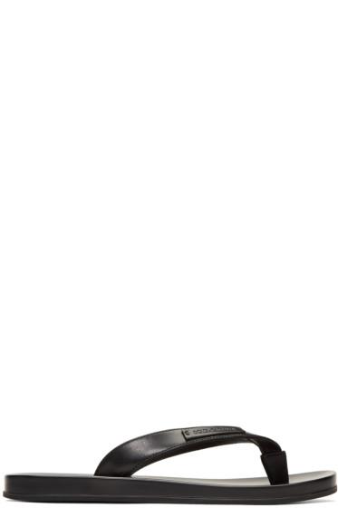Dolce & Gabbana - ブラック レザー スライド サンダル