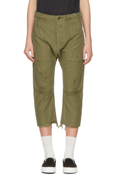 R13 - Green Ripped Utility Trousers