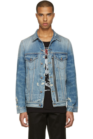 R13 - Blue Denim Distressed Zip Trucker Jacket
