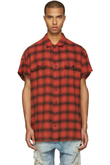 R13 - Red Oversized Cut Off Shirt