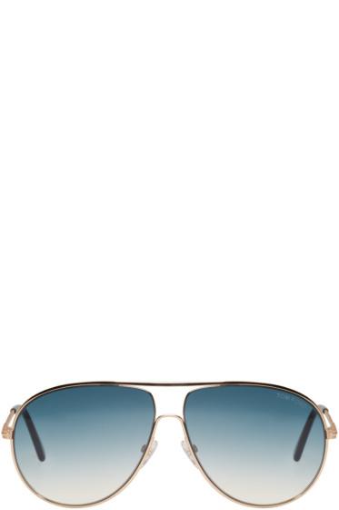 Tom Ford - Gold Cliff Aviator Sunglasses