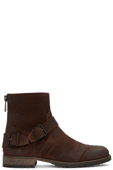Belstaff - Brown Burnished Suede Trialmaster Boots