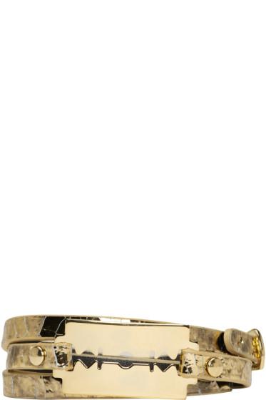 McQ Alexander Mcqueen - ゴールド レイザー トリプル ラップ ブレスレット