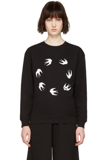 McQ Alexander Mcqueen - Black Round Swallows Pullover