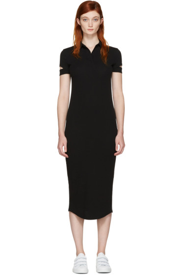 Helmut Lang - Black Ribbed Shirt Dress
