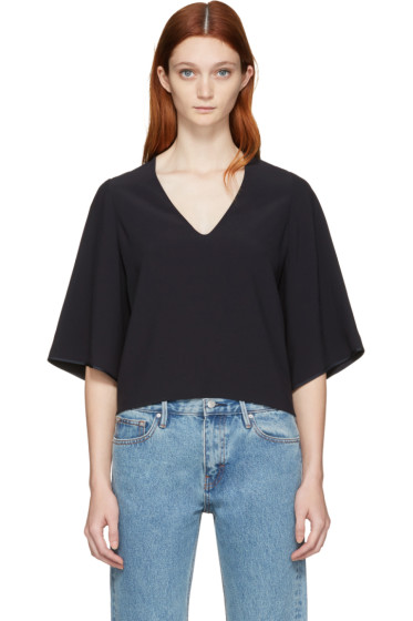 Helmut Lang - Navy Deep V-Neck Blouse