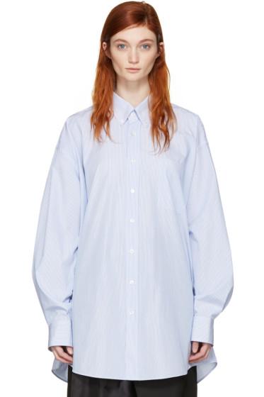 Maison Margiela - ブルー & ホワイト オーバーサイズ シャツ