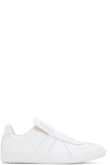 Maison Margiela - White Laceless Replica Slip-On Sneakers