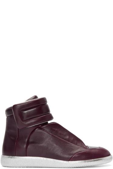 Maison Margiela - Burgundy & Silver Future High-Top Sneakers