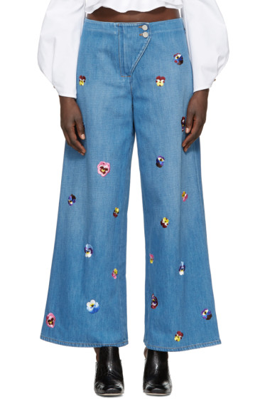 Christopher Kane - Indigo Embroidered Baggy Jeans