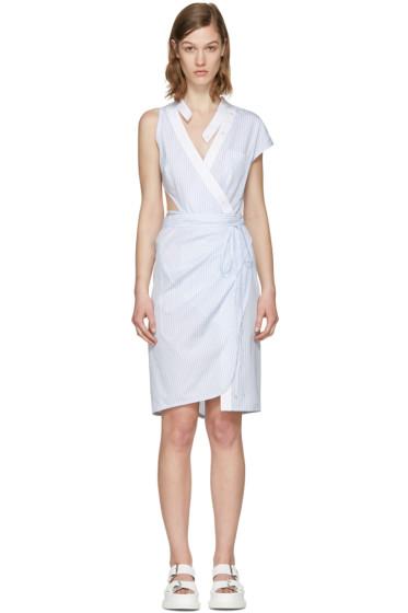 Alexander Wang - Blue Striped Asymmetric Wrap Dress