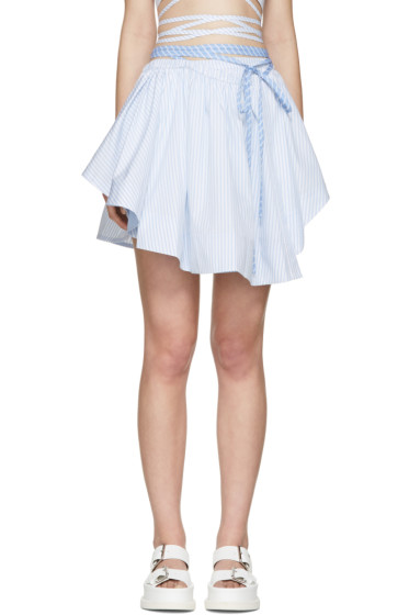 Alexander Wang - Blue & White Striped Wrap Skirt