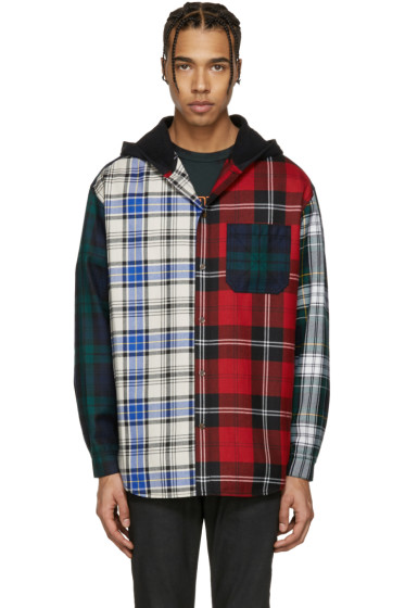 Alexander Wang - Multicolor Hooded Patchwork Overshirt