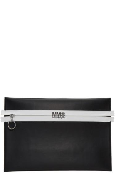 MM6 Maison Margiela - Black Faux-Leather Zip Pouch