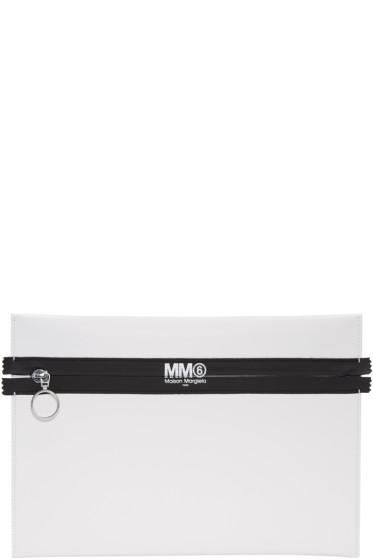 MM6 Maison Margiela - White Faux-Leather Pouch