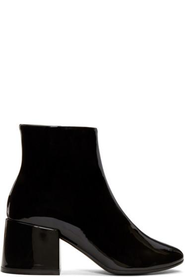 MM6 Maison Margiela - Black Patent Cube Heel Boots