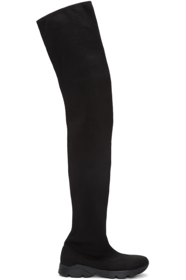 MM6 Maison Margiela - ブラック ソックス オーバーニー ブーツ