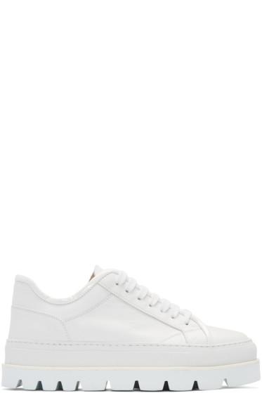 MM6 Maison Margiela - White Leather Flatform Sneakers