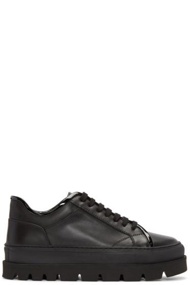MM6 Maison Margiela - Black Leather Flatform Sneakers